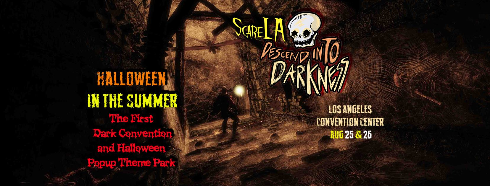this years pre halloween convention will take place with the lights off revealing the worlds first summer halloween pop up theme park
